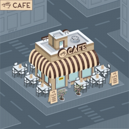 Facade coffee shop Иллюстрация