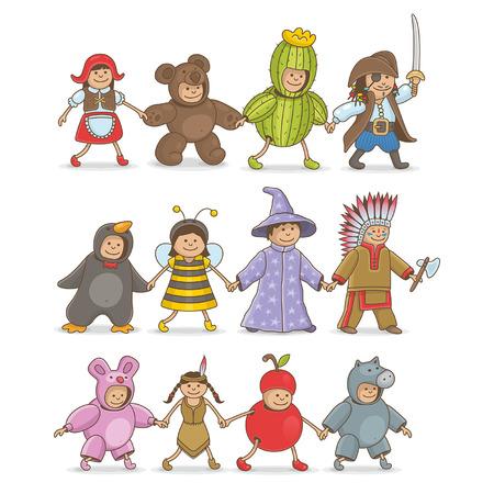 niños: Disfraces de Navidad para niños Vectores