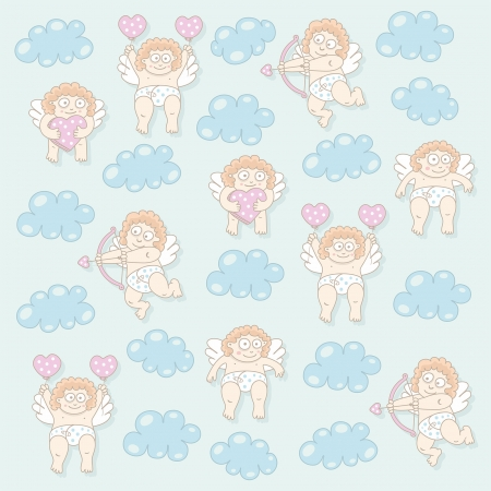 Cupid seamless pattern Vector