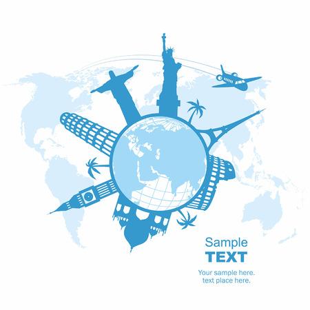 旅行および観光事業の背景  イラスト・ベクター素材