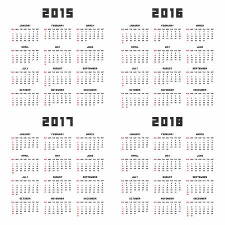 calendar 2015, 2016, 2017, 2018 Vector