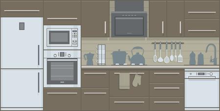 cuisine fond blanc: Vecteur illustration int�rieur de cuisine