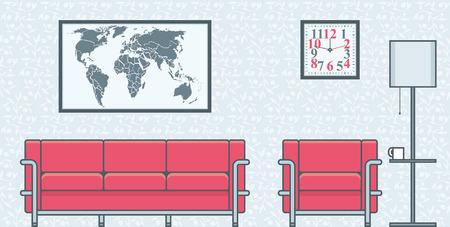 tv room: living room interior vector illustration