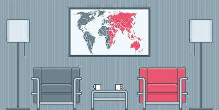 furniture computer: living room interior vector illustration