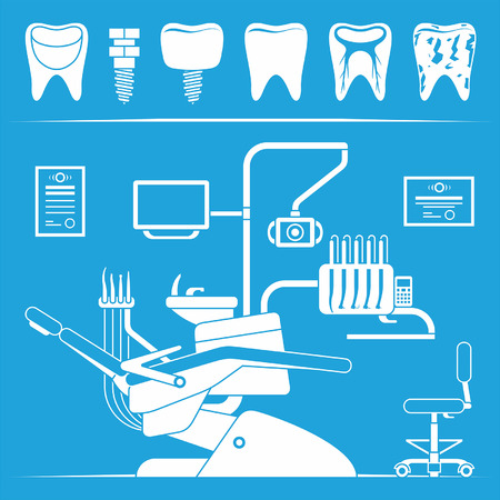 dental chair: Vector set of dentist icons