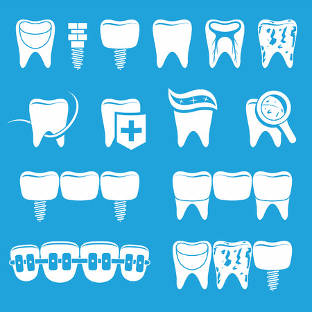 protect icon: Vector set of dentist icons