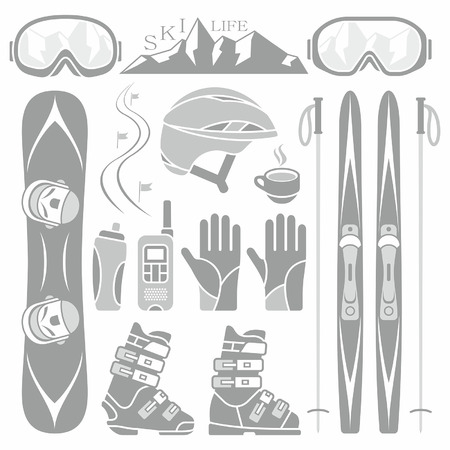 Set of skiing and snowboarding Illustration