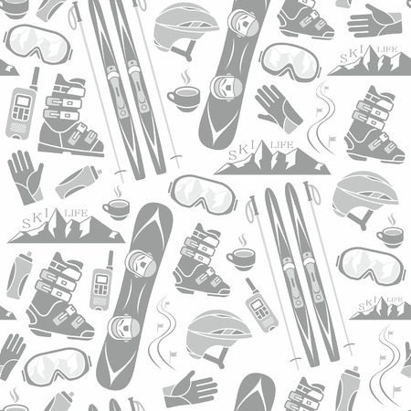 Winter sports collection pattern Vector