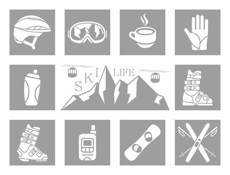 ski mask: Winter Icons Set