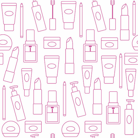 lipstick brush: Seamless background with cosmetics icons Illustration