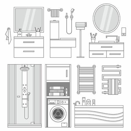 bathroom design: Vector set of furniture in bathroom