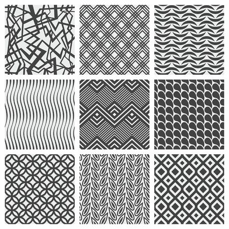 Set of nine geometrical patterns Vector