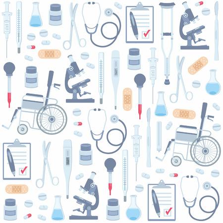 医療のシームレス パターン  イラスト・ベクター素材