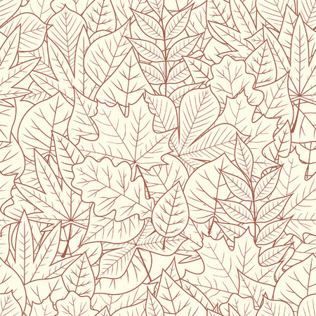 seamless with autumn leaves on white background