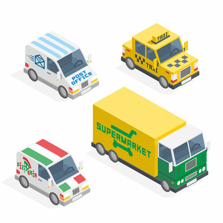mail truck: Set of the isometric cars