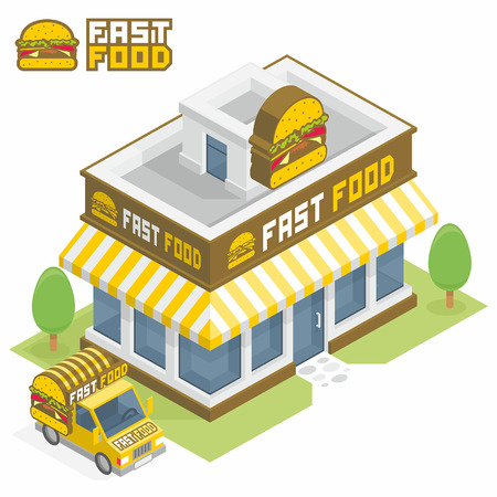 Fast Food building Vectores