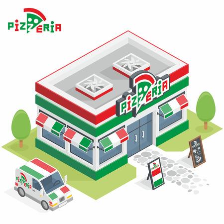 Pizzeria building Stock Vector - 45353295