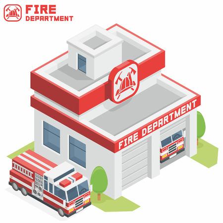 camion de bomberos: Edificio del Departamento de Bomberos Vectores