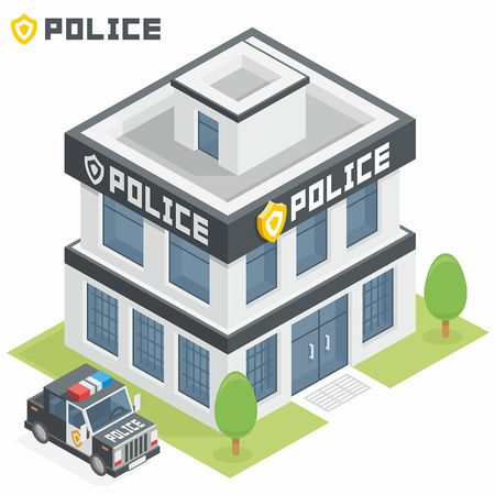 police cartoon: Police department building Illustration