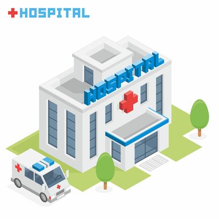 ortseingangsschild: Krankenhausgebäude Illustration