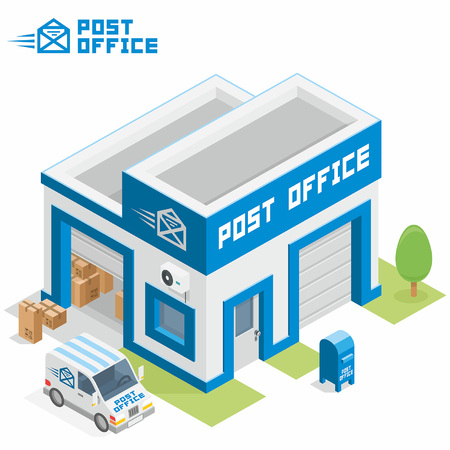 post box: Post office building Illustration