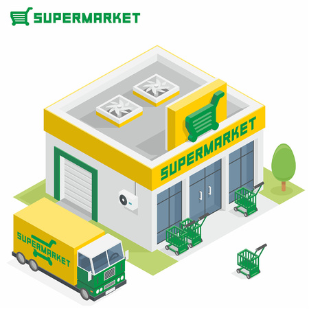 architecture and buildings: Supermarket building Illustration