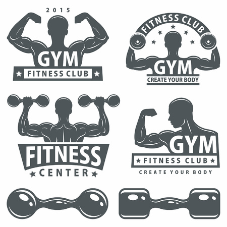 hand weight: Gym and Fitness emblems