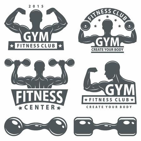silueta hombre: Gym y Gimnasio emblemas