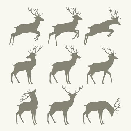 クリスマスのトナカイのシルエット  イラスト・ベクター素材