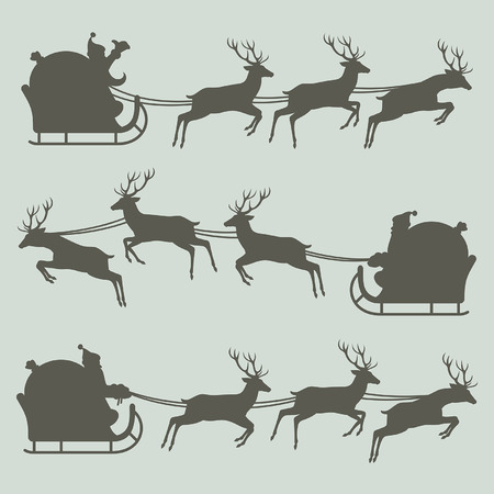santa sleigh: Silhouettes of Santa Claus on his sleigh