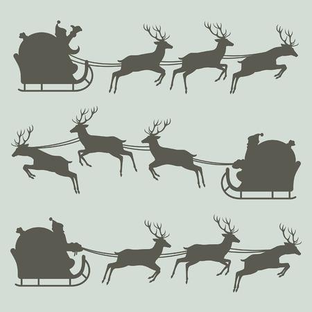 sleigh: Silhouettes of Santa Claus on his sleigh