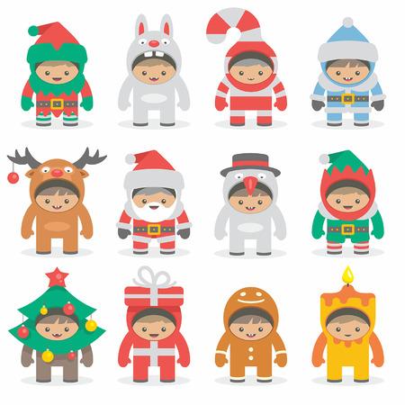 niños sonriendo: trajes de Navidad los niños Vectores
