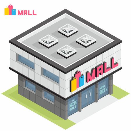 centro comercial: la construcción del centro comercial Vectores