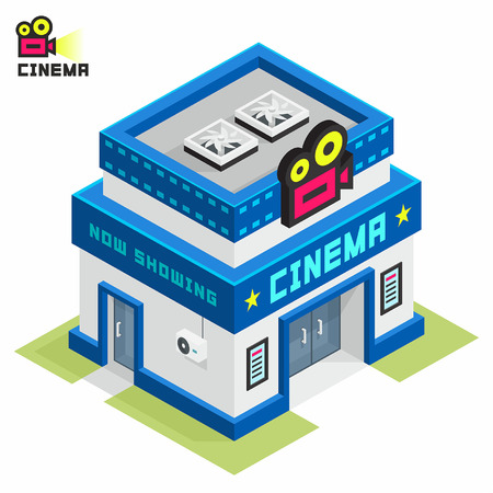 holiday movies: Cinema building Illustration