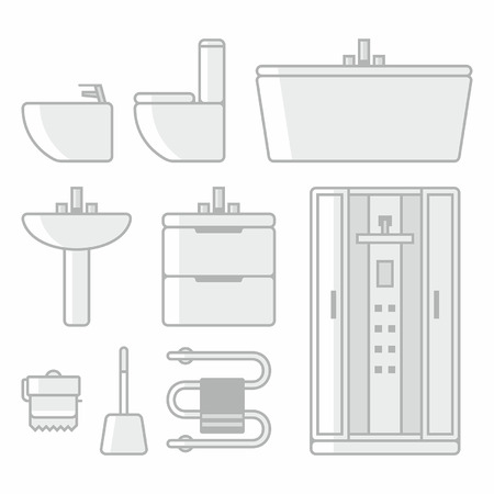 sanitary engineering: Bathroom icons Illustration