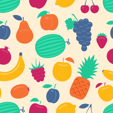 skin color: Vector seamless background with fruits