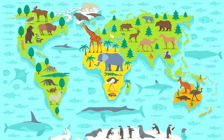 Funny cartoon carte du monde Vecteurs