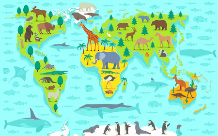 antarctica: Funny cartoon world map