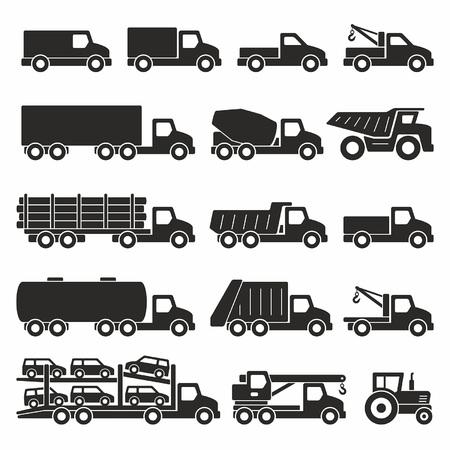 Trucks icons set Illustration