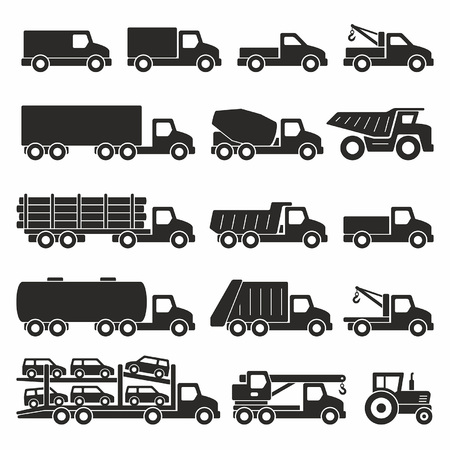 Trucks icons set Stock Illustratie