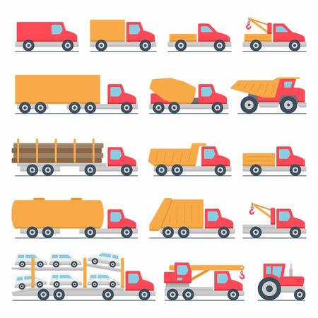 hauler: Trucks icons set Illustration