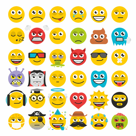 iconography: Set of emoticons vector