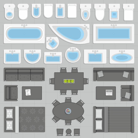 architectural plan: furniture top view Illustration
