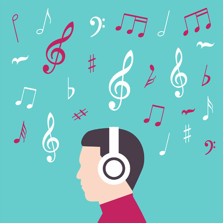 Man Profil mit Kopfhörer Musik