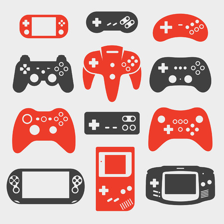 controller: gamepad silhouette icon set Illustration