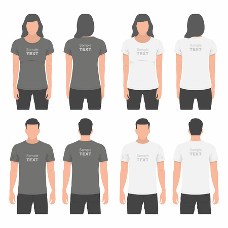 short back: Mens and Womens t-shirt design template Illustration