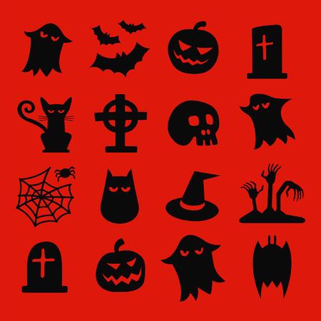 ghost house: Halloween Isometric Icons Set Illustration