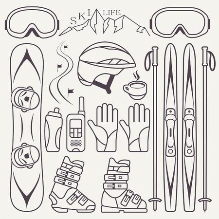 snowboarding: Set of skiing and snowboarding Illustration