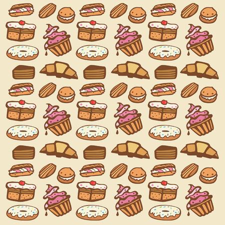 fruit cake: Cupcake seamless pattern