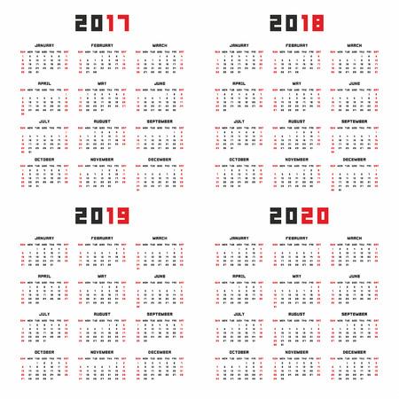calender design: Calendar for 2017, 2018, 2019, 2020